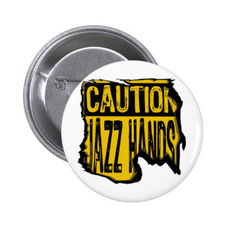 Caution Sign- Ripped Jazz Hands Yellow/Black 6 Cm Round Badge