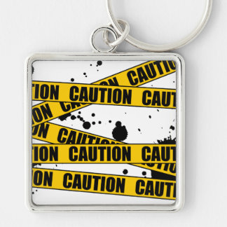 Caution! Silver-Colored Square Key Ring