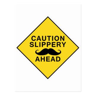 Caution Slippery Mustache Postcard