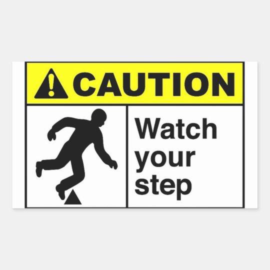 CAUTION Watch Your Step Rectangular Sticker