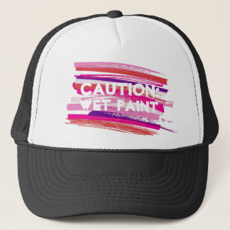 Caution Wet Paint Strokes Trucker Hat
