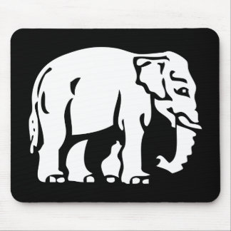 Caution White Elephant ⚠ Thai Road Sign ⚠ Mouse Pad