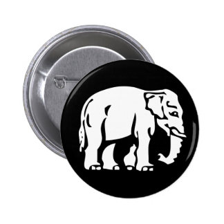 Caution White Elephant ⚠ Thai Sign ⚠ 6 Cm Round Badge