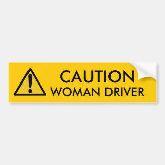 CAUTION: WOMAN DRIVER BUMPER STICKER