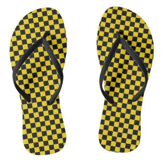 caution yellow checkered sandals