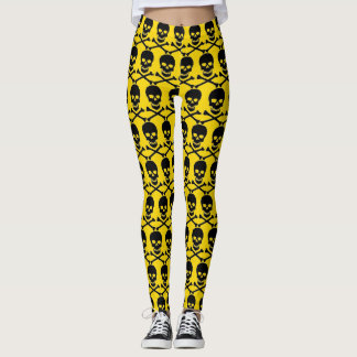 caution yellow crossbones & skull leggings
