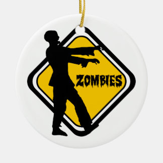 Caution Zombies Christmas Ornament
