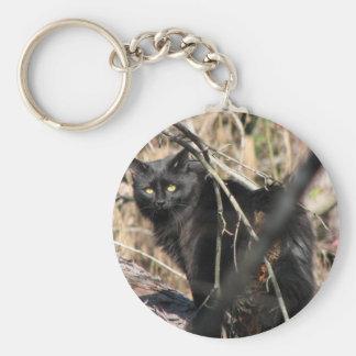Cautious Star Noir Cat Basic Round Button Key Ring