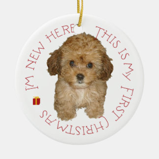Cavachon Puppy First Christmas Christmas Ornament