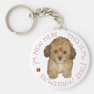 Cavachon Puppy First Christmas Key Ring