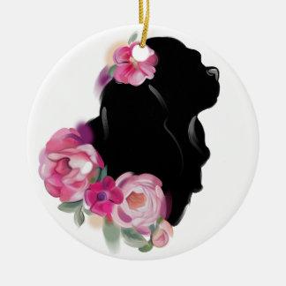 Cavalier Christmas Ornament | Floral Silhouette