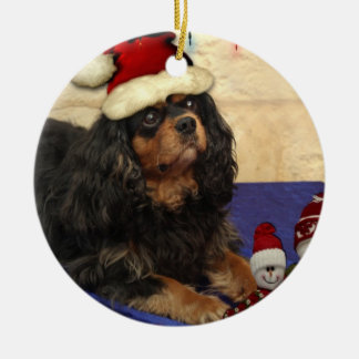Cavalier Christmas Round Ceramic Decoration