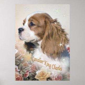 Cavalier King Charles among roses Prints