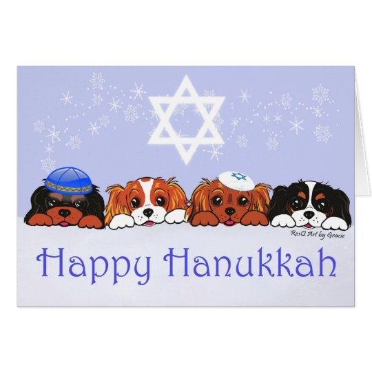 Cavalier King Charles Happy Hanukkah Card