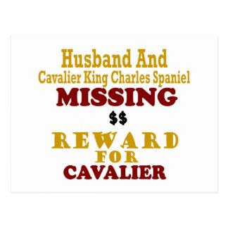 Cavalier King Charles  & Husband Missing Reward Fo Postcard