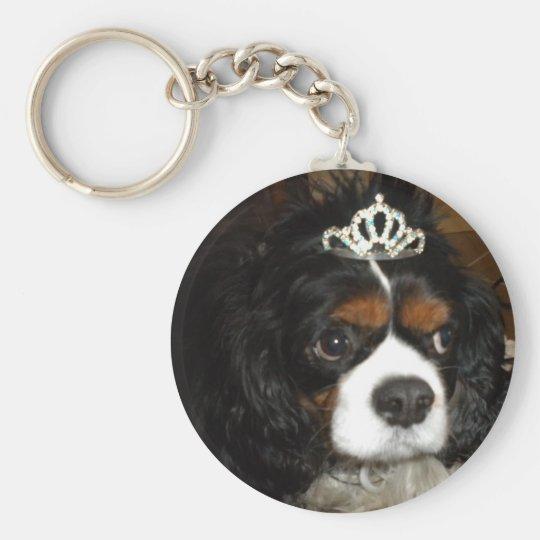 cavalier king charles princess basic round button key ring