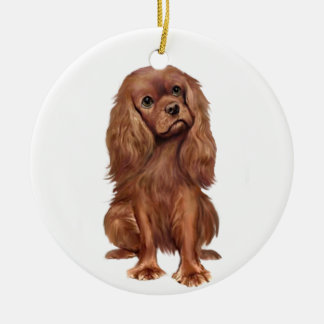 Cavalier King Charles - Ruby Round Ceramic Decoration
