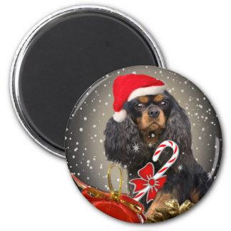 Cavalier King Charles Santa gifts 6 Cm Round Magnet