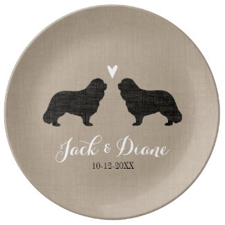 Cavalier King Charles Silhouettes with Heart Porcelain Plate