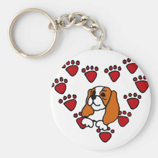 Cavalier King Charles Spaniel and Heart Art Basic Round Button Key Ring