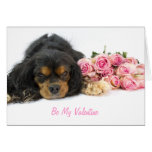 Cavalier King Charles Spaniel And Roses Valentine
