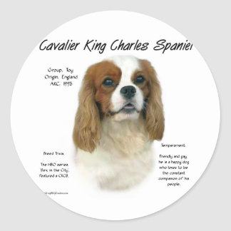 Cavalier King Charles Spaniel (Blenheim) History Round Sticker