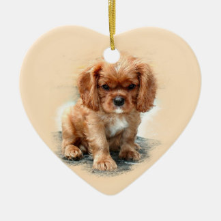 Cavalier King Charles Spaniel Ceramic Heart Decoration