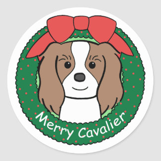 Cavalier King Charles Spaniel Christmas Classic Round Sticker