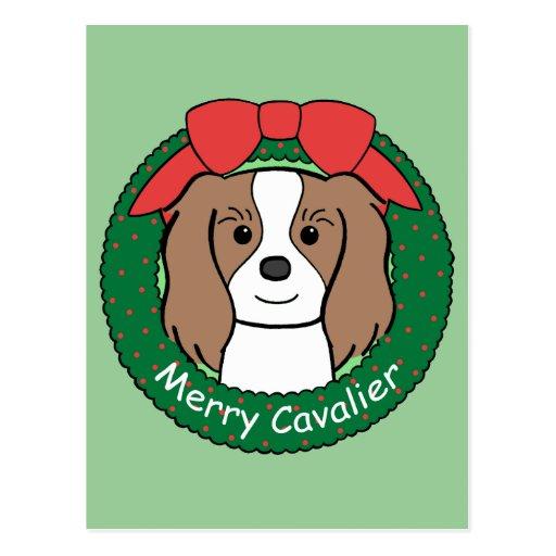 Cavalier King Charles Spaniel Christmas Postcard