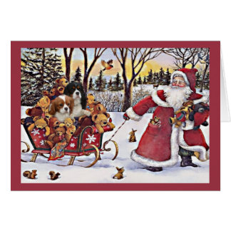Cavalier King Charles Spaniel Christmas Santa and  Greeting Card