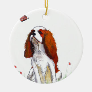 Cavalier King Charles Spaniel CKC Round Ceramic Decoration