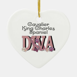Cavalier King Charles Spaniel DIVA Ceramic Heart Decoration