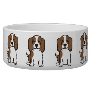 Cavalier King Charles Spaniel Dog Cartoon Pet Water Bowls