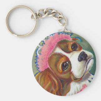 Cavalier King Charles Spaniel Dog Princess ART Basic Round Button Key Ring