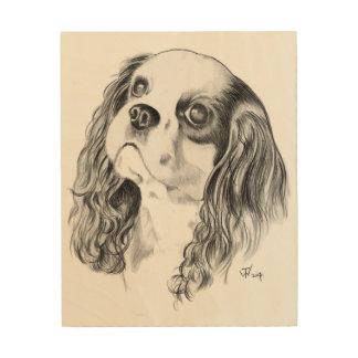 Cavalier King Charles Spaniel Drawing Wood Print