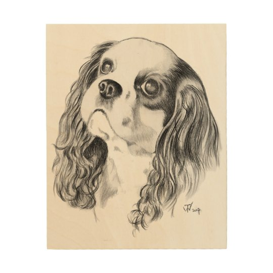 Cavalier King Charles Spaniel Drawing Wood Wall Decor