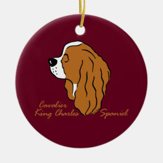 Cavalier King Charles Spaniel head silhouette Round Ceramic Decoration