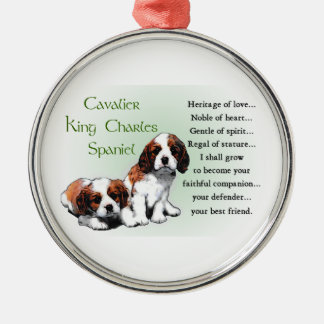 Cavalier King Charles Spaniel Heritage of Love Silver-Colored Round Decoration