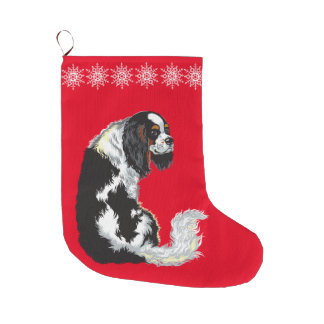 cavalier king charles spaniel large christmas stocking
