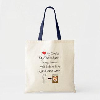 Cavalier King Charles Spaniel Loves Peanut Butter Budget Tote Bag