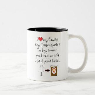 Cavalier King Charles Spaniel Loves Peanut Butter Two-Tone Mug