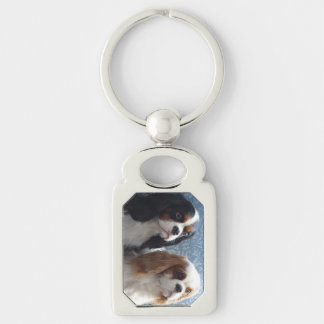 Cavalier King Charles Spaniel Metal Keychain Silver-Colored Rectangle Key Ring