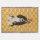 Cavalier King Charles Spaniel & Owl Throw Blanket