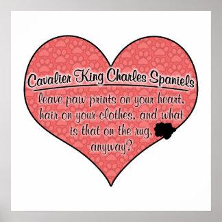 Cavalier King Charles Spaniel Paw Prints Dog Humor Poster