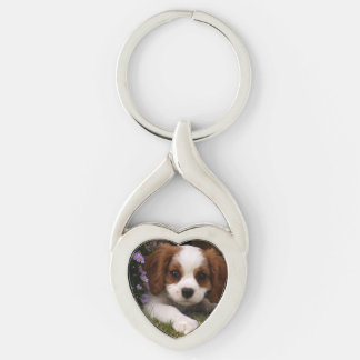 Cavalier King Charles Spaniel Puppy behind flowers Key Ring