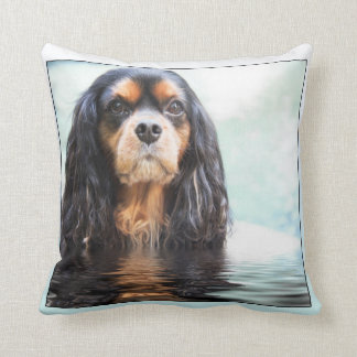 Cavalier King Charles Spaniel Rising From Waters Throw Cushions