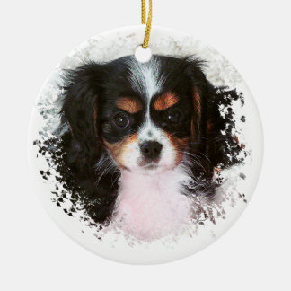 Cavalier King Charles Spaniel Round Ceramic Decoration