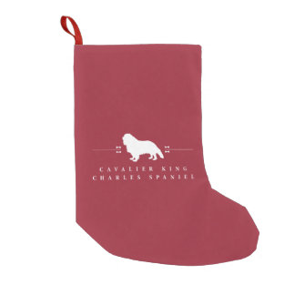 Cavalier King Charles Spaniel silhouette -2- Small Christmas Stocking