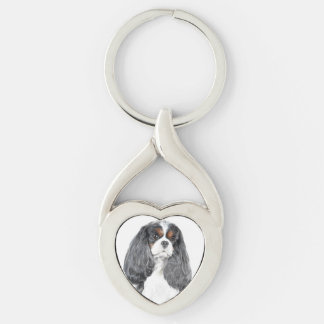 Cavalier King Charles Spaniel Tri color Keychain Silver-Colored Twisted Heart Key Ring