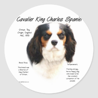 Cavalier King Charles Spaniel (tricolor) History Round Sticker